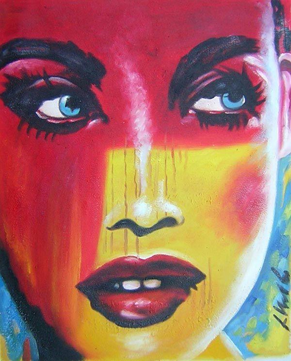 Tableaux peinture visage pop art peintures pop art for Art contemporain moderne