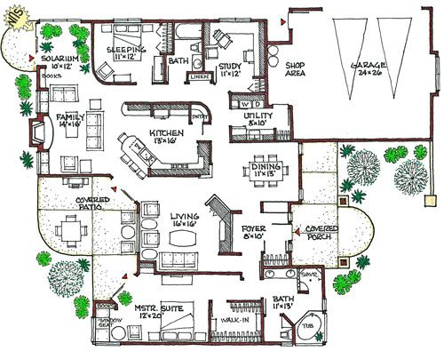 Mediterranean eco friendly home green house plan small for Eco friendly floor plans