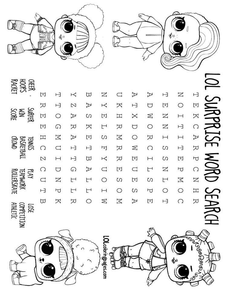 Lol Doll Athletic club word search | Giovanna\'s | Lol, Lol dolls, Dolls