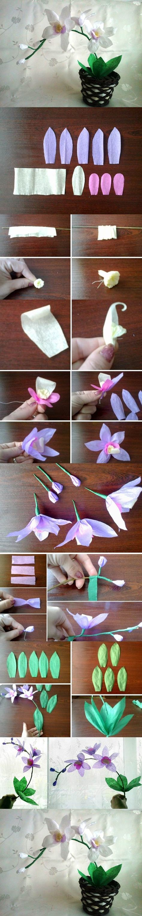 DIY Crepe Paper Orchids | iCreativeIdeas.com Like Us on Facebook ==> https://www.facebook.com/icreativeideas
