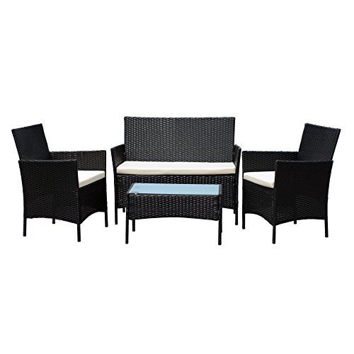 EBS Rattan Patio Garden Furniture Sets Patio Furniture Set Clearance Sale  Wicker White Cushioned Coffee Table + 2 Chairs   Black PE   Garden Rattan  ...