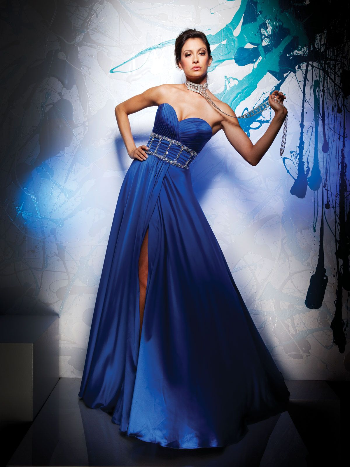Blue A Line Prom Dress With Strapless Sweetheart Neckline Pleated Bodice Extends Into Beading Framed W Elegant Prom Dresses Sweetheart Prom Dress Prom Dresses [ 1600 x 1200 Pixel ]