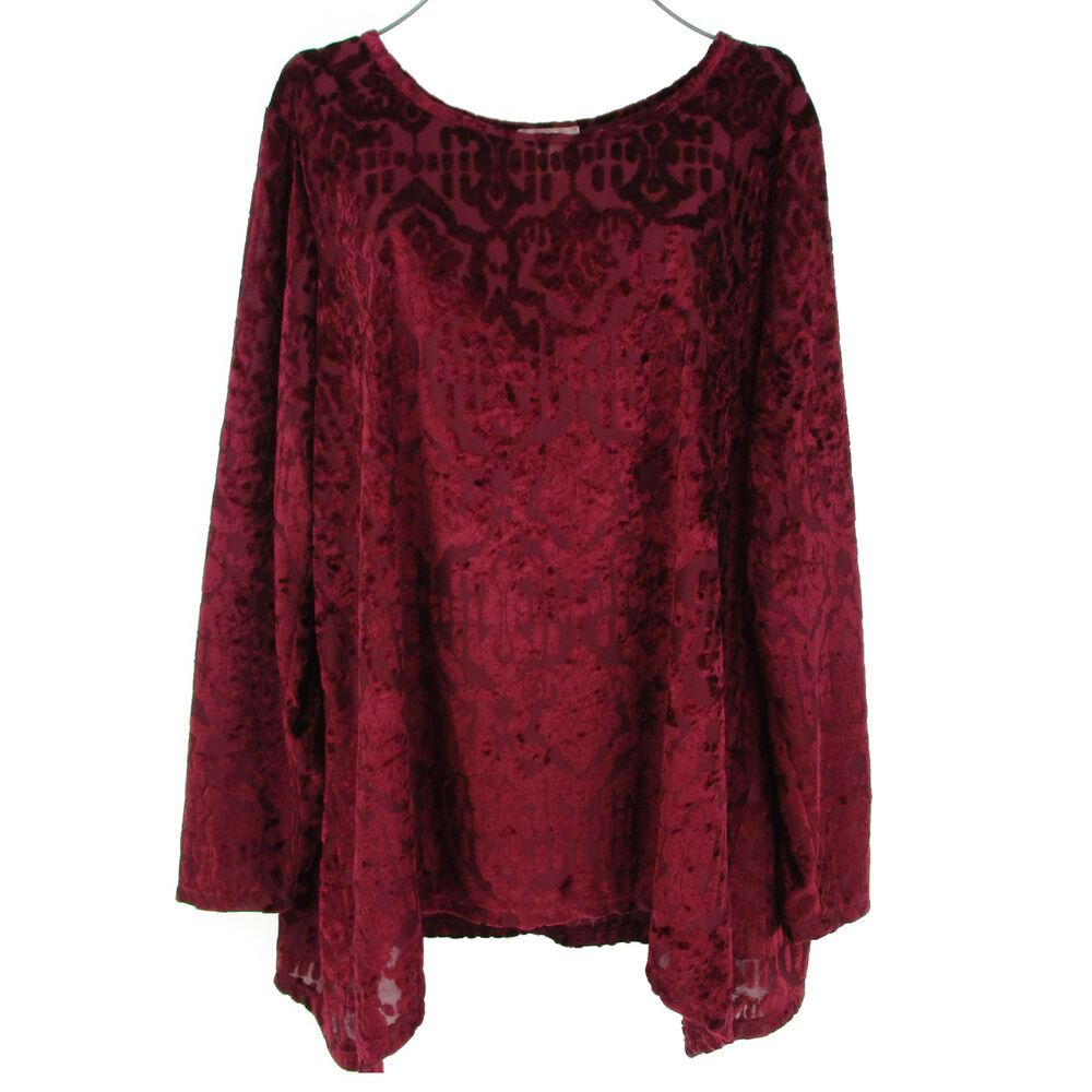 Womens 2x Velvet Burnout Tunic Top Plus Size 20 Xxl Red Wine Damask Valentines Whitestag Blouse Casual Tunic Tops Women Round Neck Tops