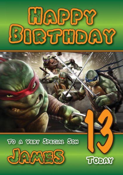 Teenage Mutant Ninja Turtles Birthday Card Large A5 Personalised