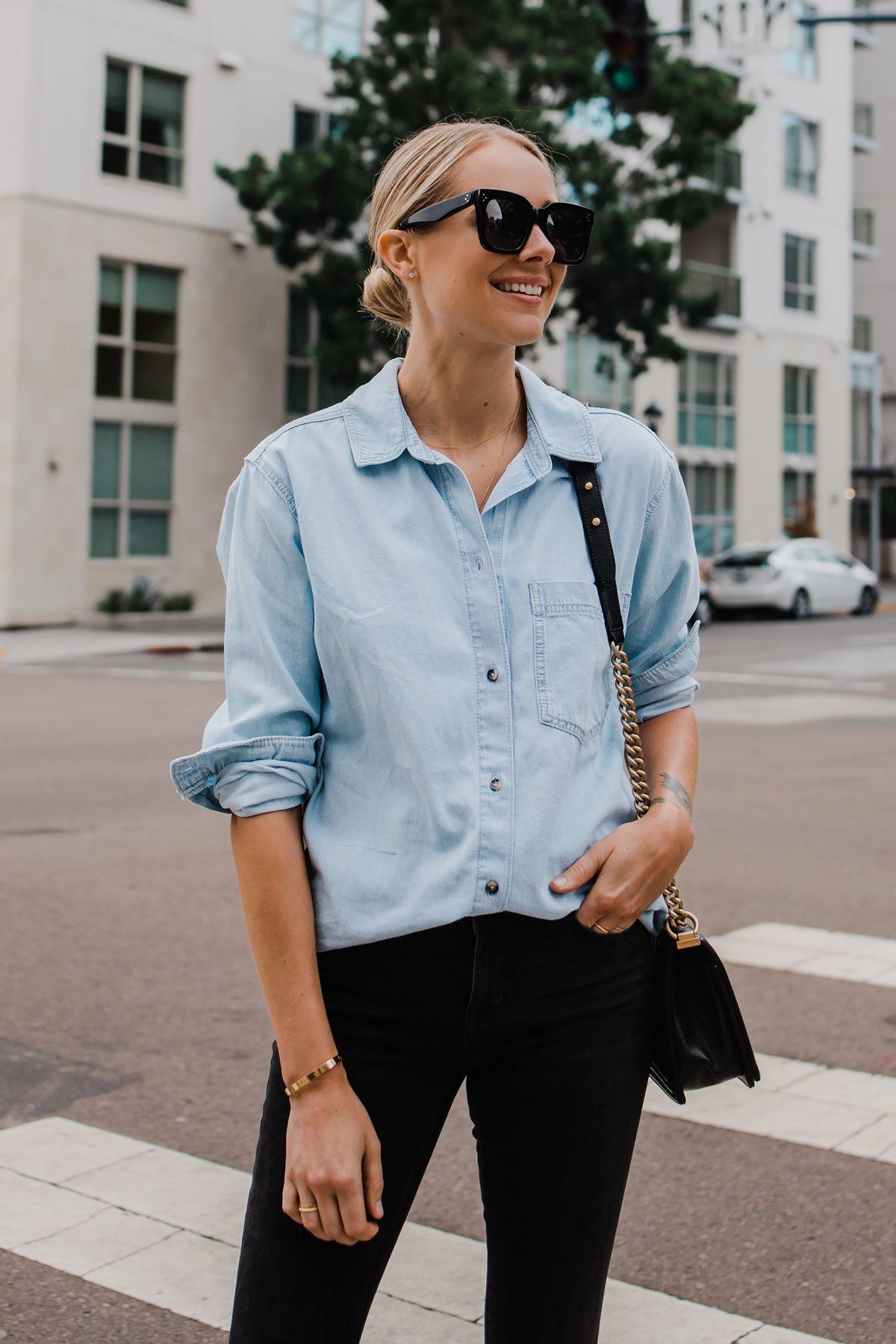 d85e0bdb670 Blonde Woman Wearing Topshop Oversized Denim Shirt Topshop Black Skinny  Jeans Fashion Jackson San Diego Blogger Fashion Blogger Street Style