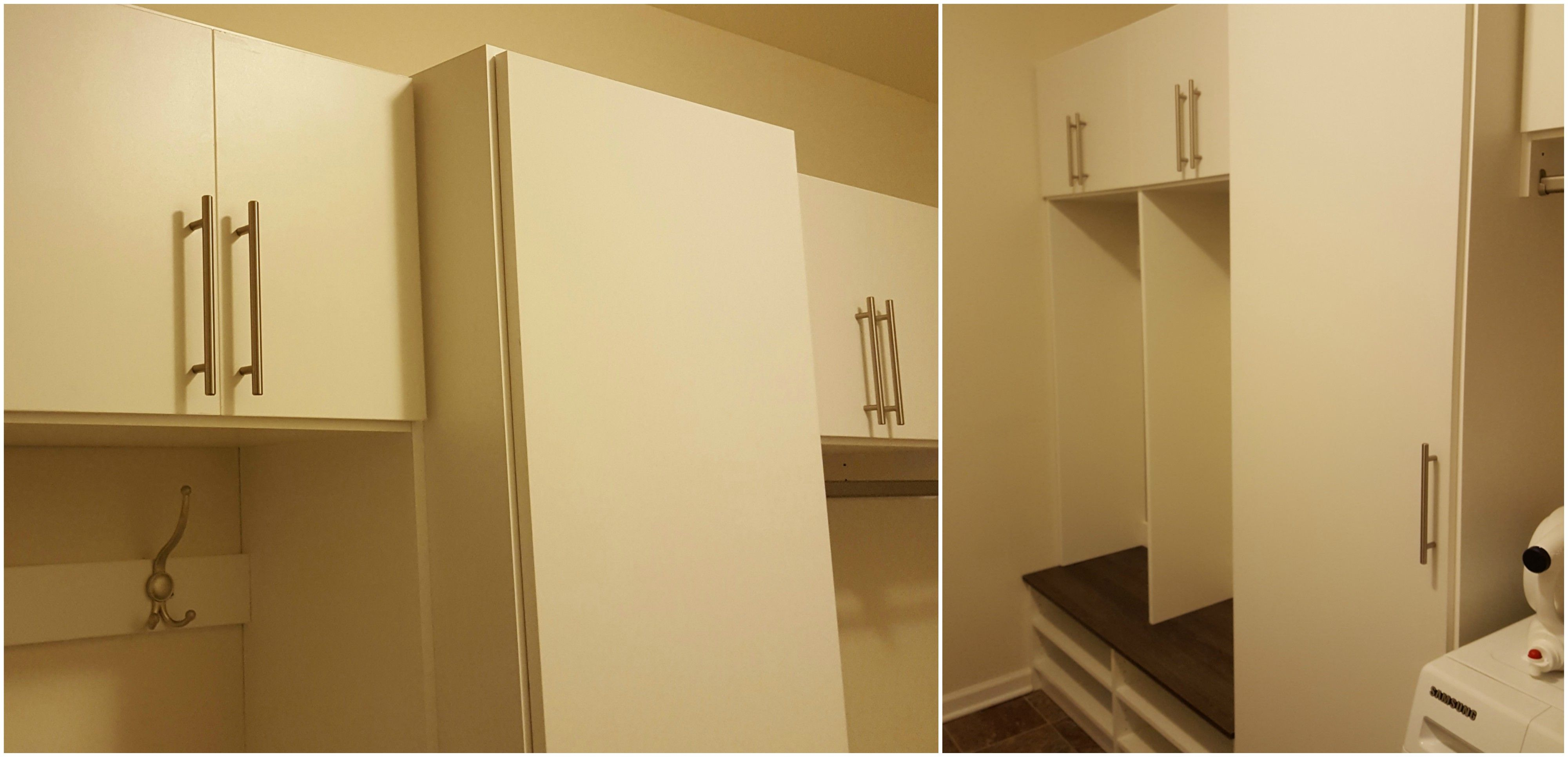 White melamine laundry room cabinets with doors, adjustable shelving ...