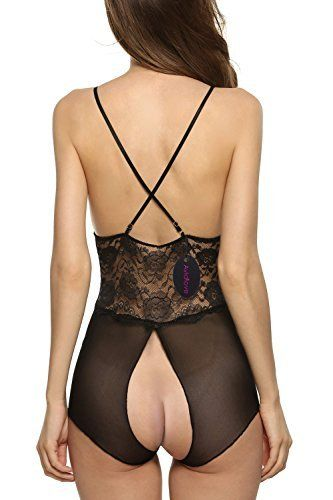 Avidlove Women Sexy Lingerie Lace See-through Babydoll Open Crotch Pant  Dress 10284bf78