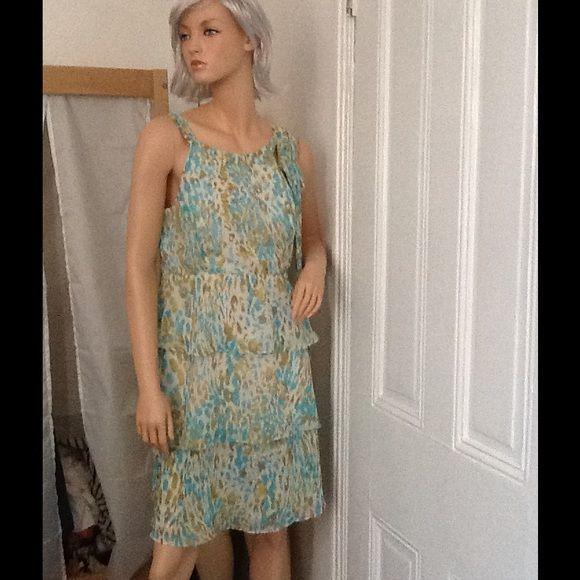 Beautiful light blue ,green Aqua,Summer dress. Beautiful light blue ,green Aqua,Summer dress. Excellent condition.Stunning! 100% polyester. Vertigo Paris Dresses