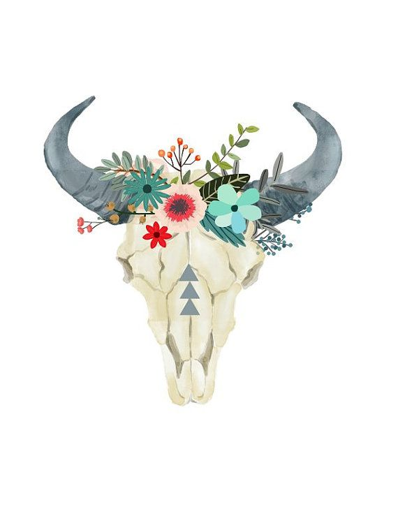Bull Skull Printable Art Cow skull Tribal Art by PaperStormPrints ...