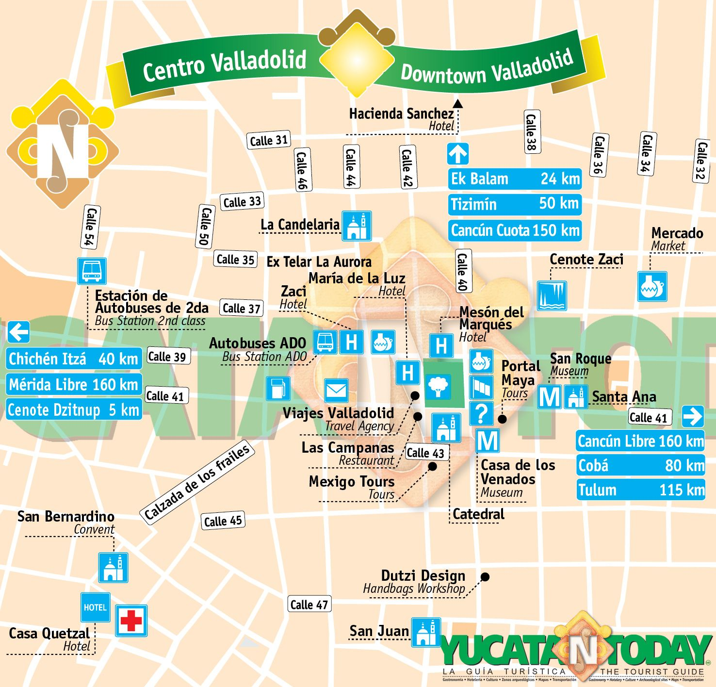 Valladolid City Map Mexique Voyage