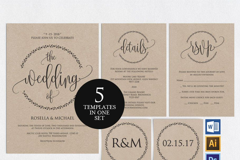 Ad Wedding Invitation Template Shr3 By Shafura Wedding On Creativemarket Purchase T Wedding Invitation Sets Invitation Template Wedding Invitation Templates
