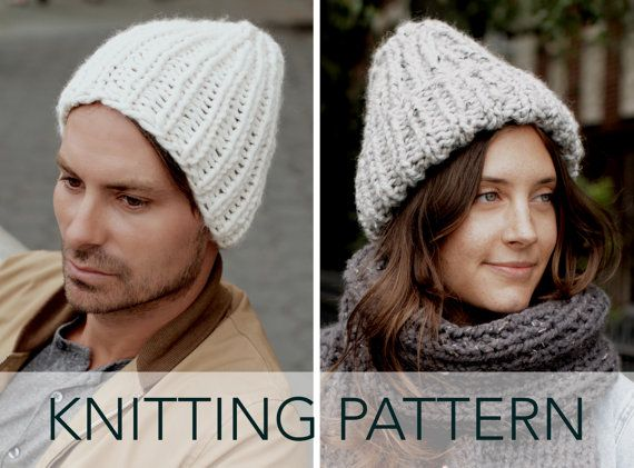 Knitting Pattern // Ribbed Fisherman Hat Cuffed Beanie Toque ...