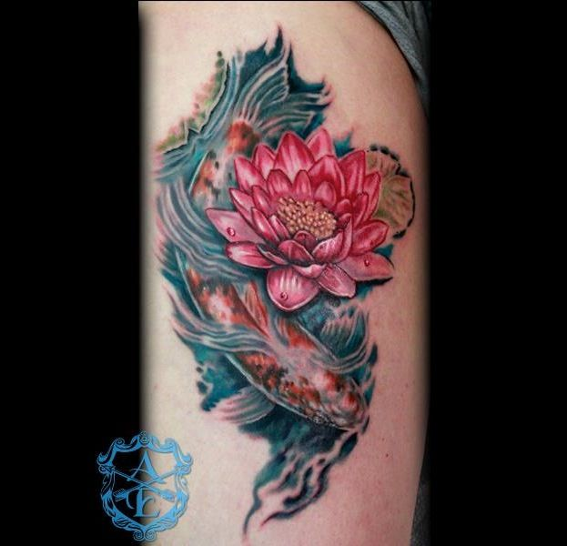 Lotus flower with koi fish tattoo done by sean ambrose at arrows and lotus flower with koi fish tattoo done by sean ambrose at arrows and embers custom tattooing mightylinksfo