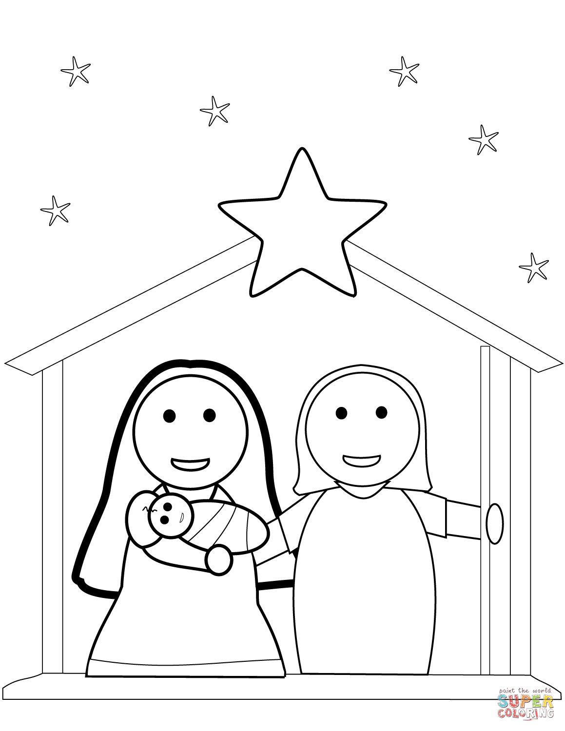 Christmas Nativity Scene Coloring Page Free Printable Coloring