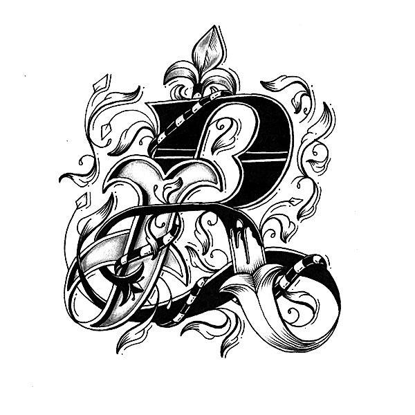 Alphabet Letter Designs Art: Hand Drawn Love Letter Alphabet