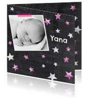 Bijzondere geboortekaart met sterretjes op krijtbord - Zus&Ik:http://kaartjesparadijs.nl/winkel/bijzondere-geboortekaart-met-sterretjes-op-krijtbord-zusik/