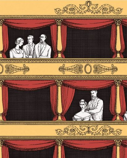 Teatro - Fornasetti Designtapete von Cole and Son - Rot/ Or 14061