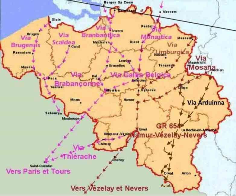 Cartes Des Chemins Vers Saint Jacques De Compostelle Et De La Via