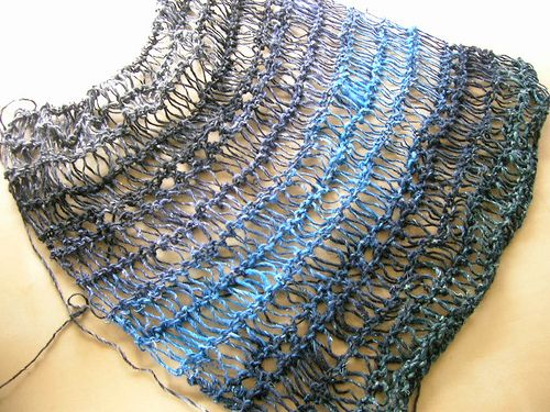Scarf using the noro silk sock yarn in stash