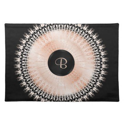 Rose Gold Black Mandala Initial Cloth Placemat is part of Trendy Clothes Rose Gold - rose gold mandala stylish trendy modern digital elegant monogram initial personalize