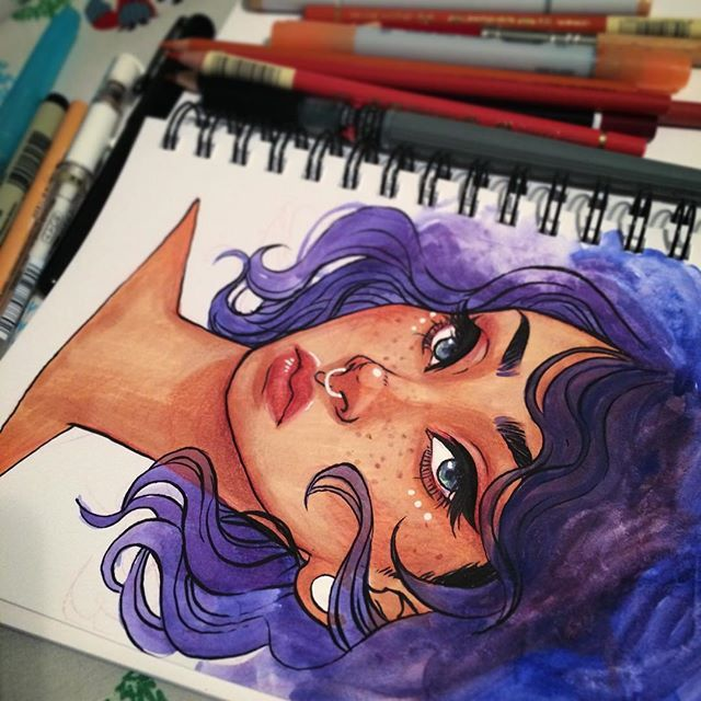 girl face hair blue color draw