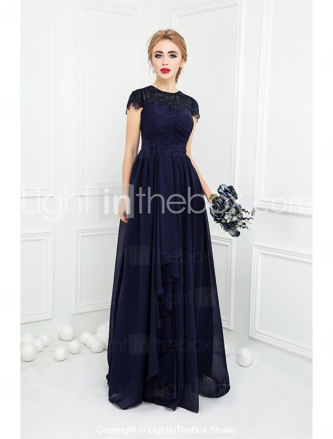 8d4fda0490 [$109.99] Ball Gown Jewel Neck Floor Length Chiffon Lace Bridesmaid Dress  with Bow(s) Lace by LAN TING Express