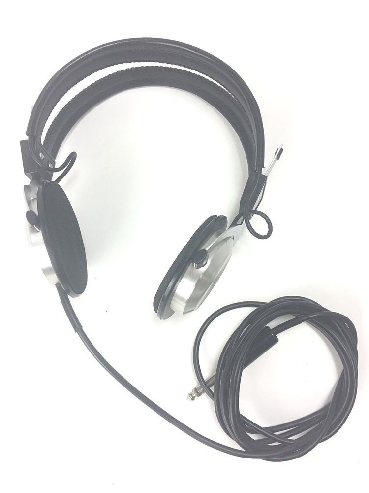 "Vintage Sanyo E760 Headphones Headset Silver 70"" Cable 1"