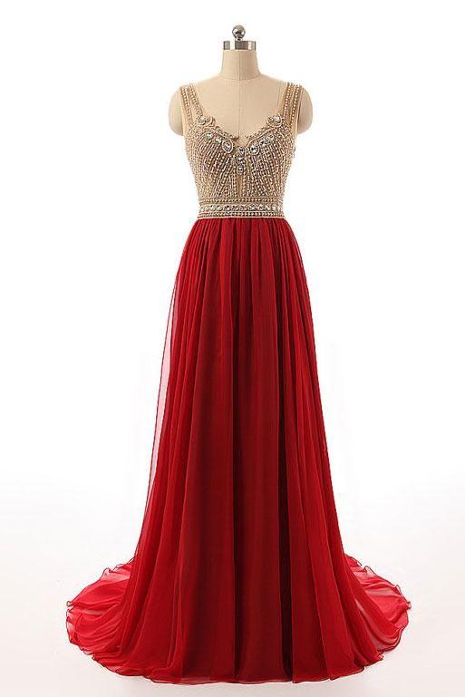 Burgundy Prom Dress Beaded Chiffon Top