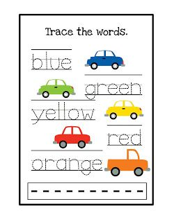 Trace the color words Preschool Printables Kids