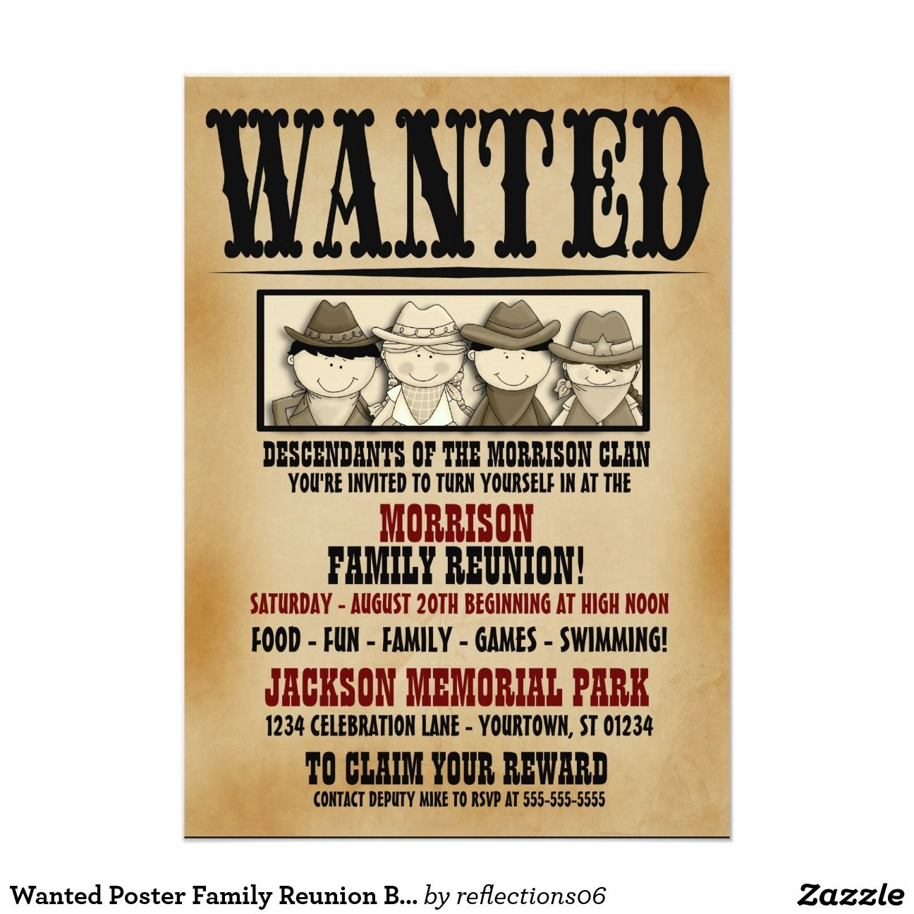 Wanted Poster Family Reunion Barbeque Invitation 5\