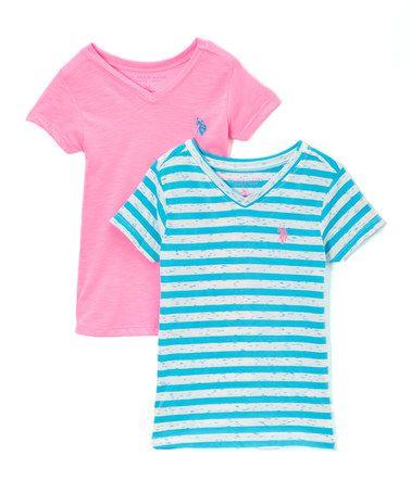 Another great find on #zulily! Pink & Teal Speckle & Stripe Top Set- Girls #zulilyfinds