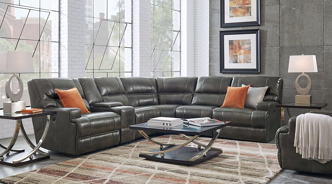 Galiano Gray 6 Pc Leather Power Reclining Sectional Living Room Sets Furniture Living Room Sectional Grey Leather Sectional