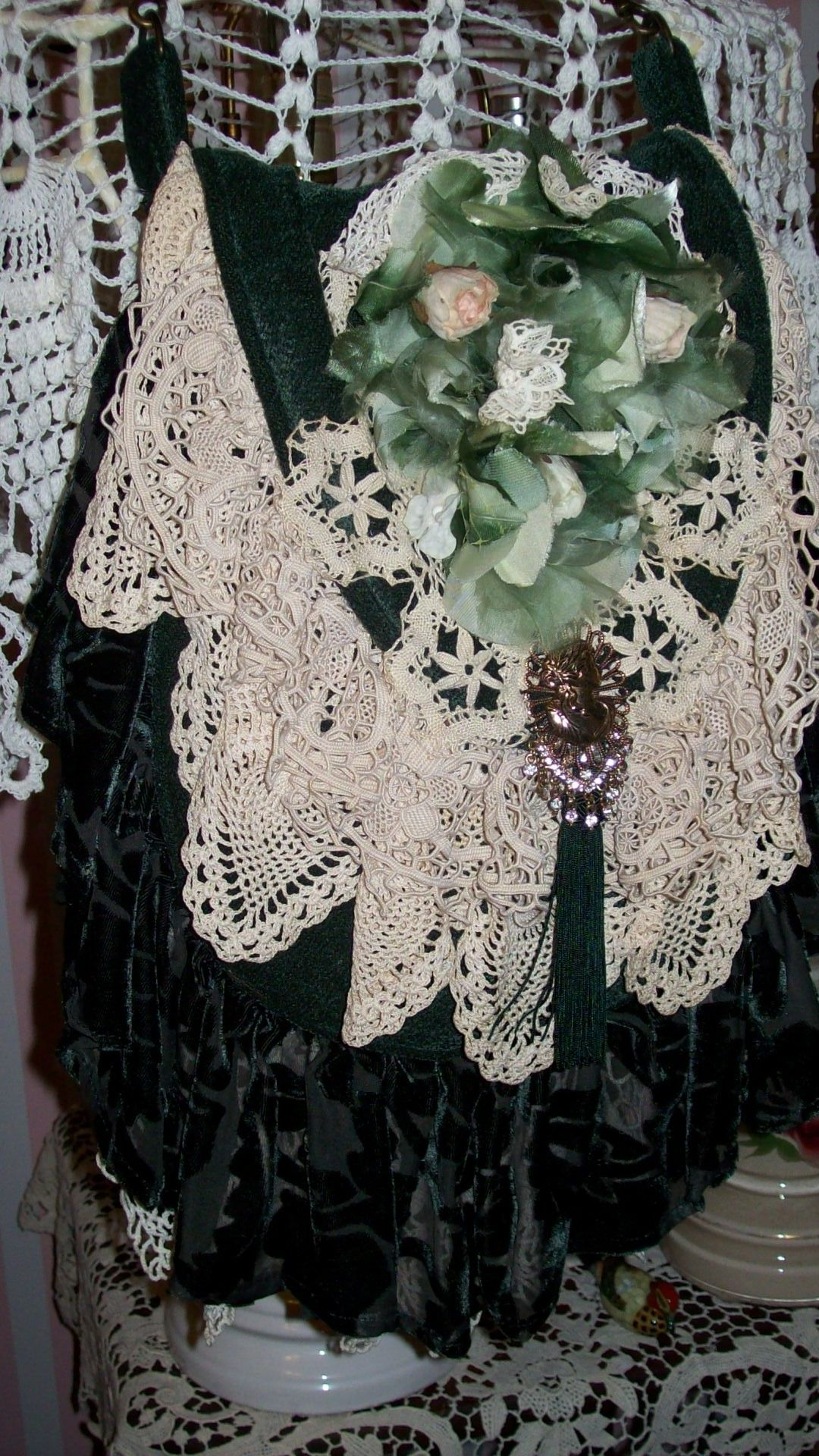 handmade green and old lace vintage flowers