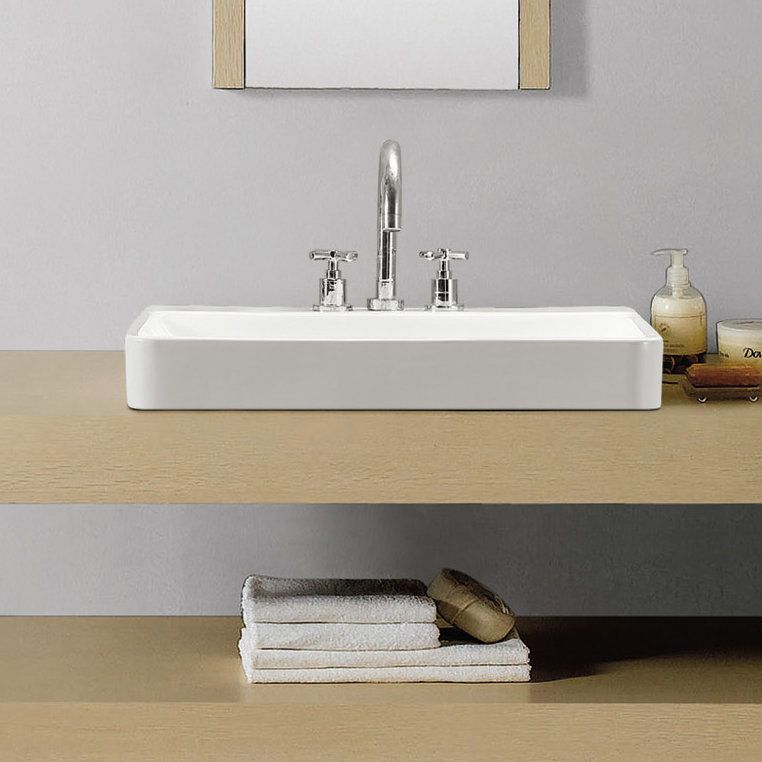 Carre Ceramic Rectangular Vessel Bathroom Sink With Overflow