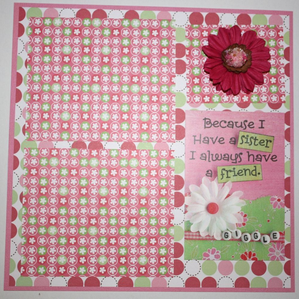 How to scrapbook 8x8 layouts - Sisterly Love Pre Made Scrapbooking Page Layout 8x8 Whole Store On