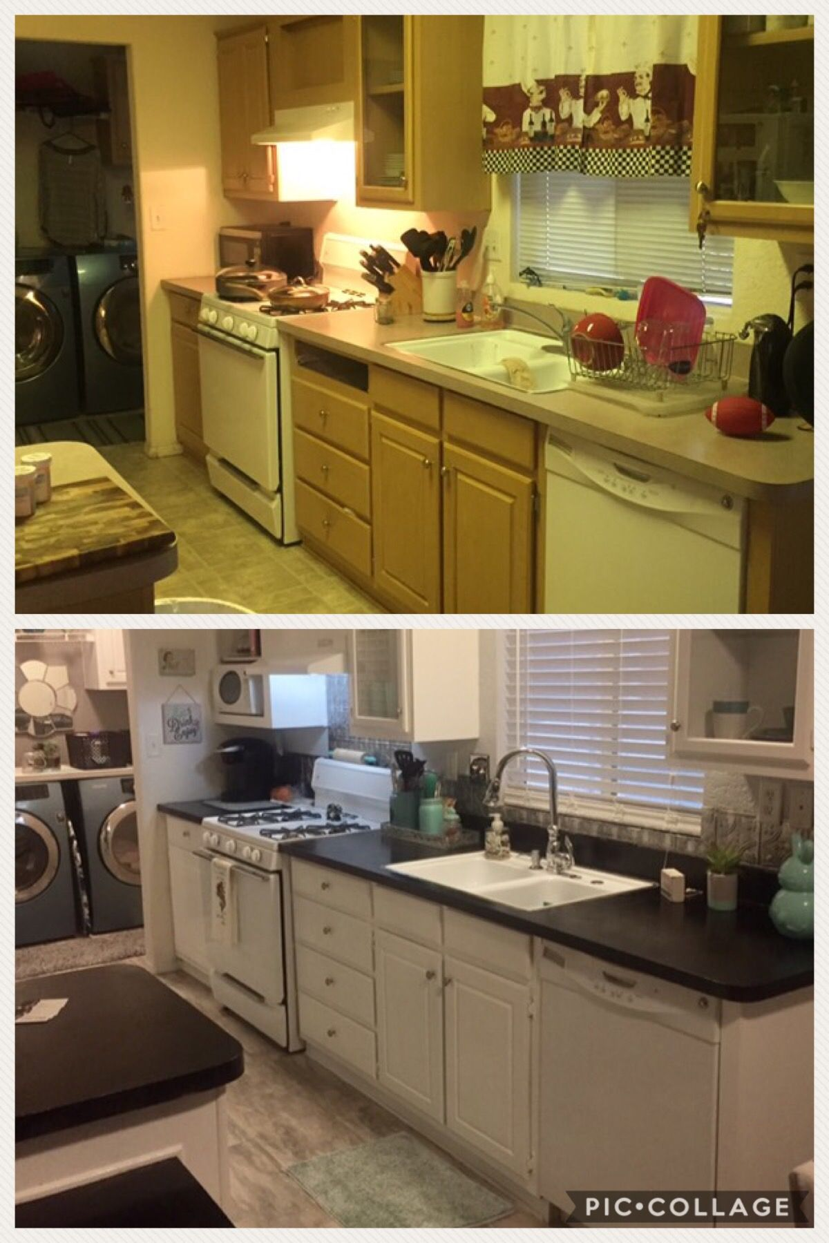 before and after of my Mobile home kitchen make over ... on painting mobile home porch, painting mobile home interior, painting mobile home floors, painting mobile home black, painting mobile home doors, painting mobile home roof,