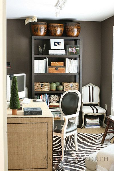 Dark tone office design Ashley Goforth Design OFFICES