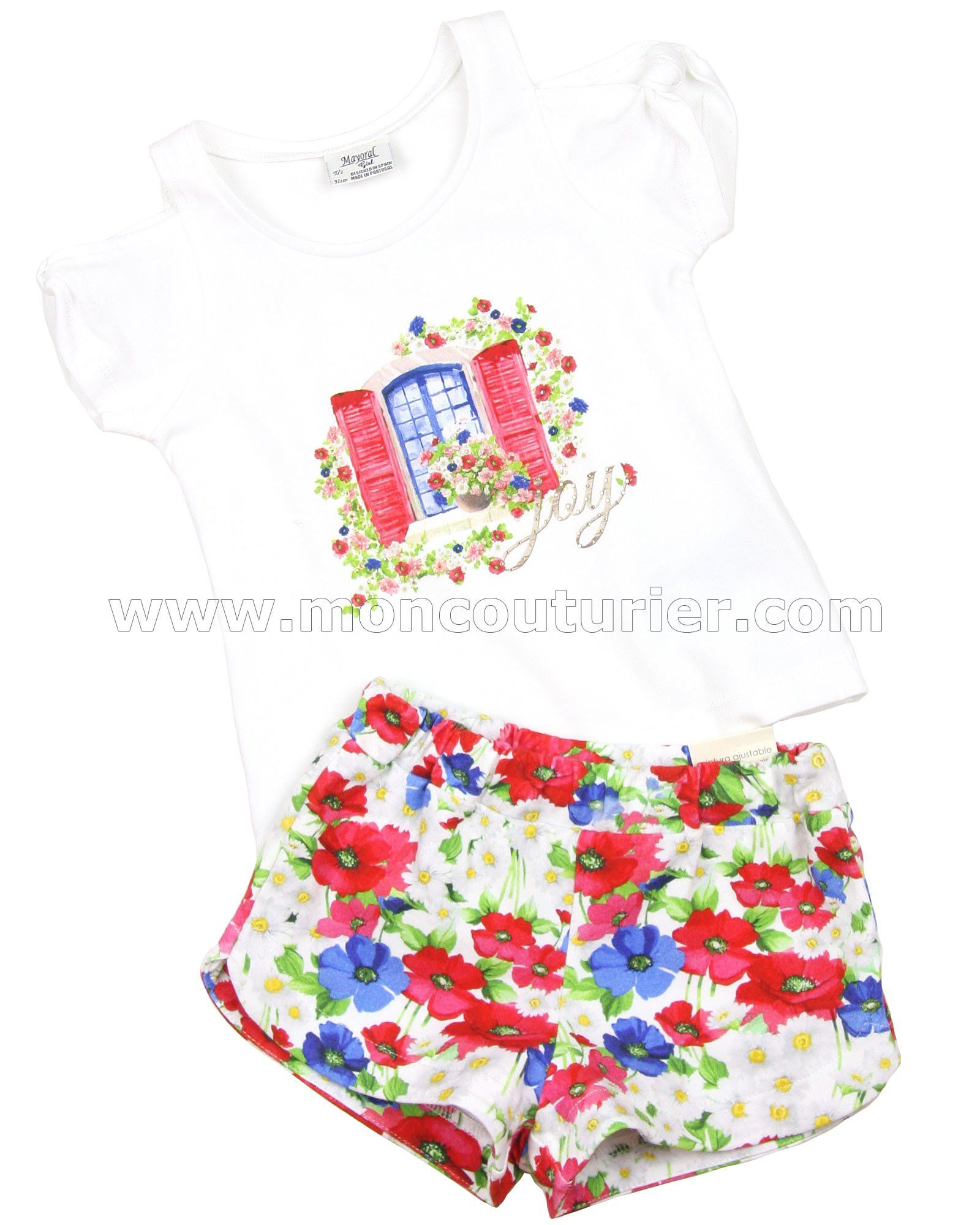 71e2897c62 Mayoral Girl s Top and Floral Shorts Set