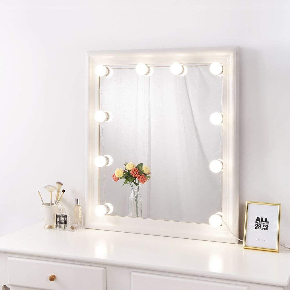 Coolmade Hollywood Style Led Vanity Mirror Lights Kit With 10 Dimmable Light Bulbs 2 Color Lighting Modes Lighting Fixture Strip For Makeup Vanity Table Set In Dressing Room Mirror Mirror With