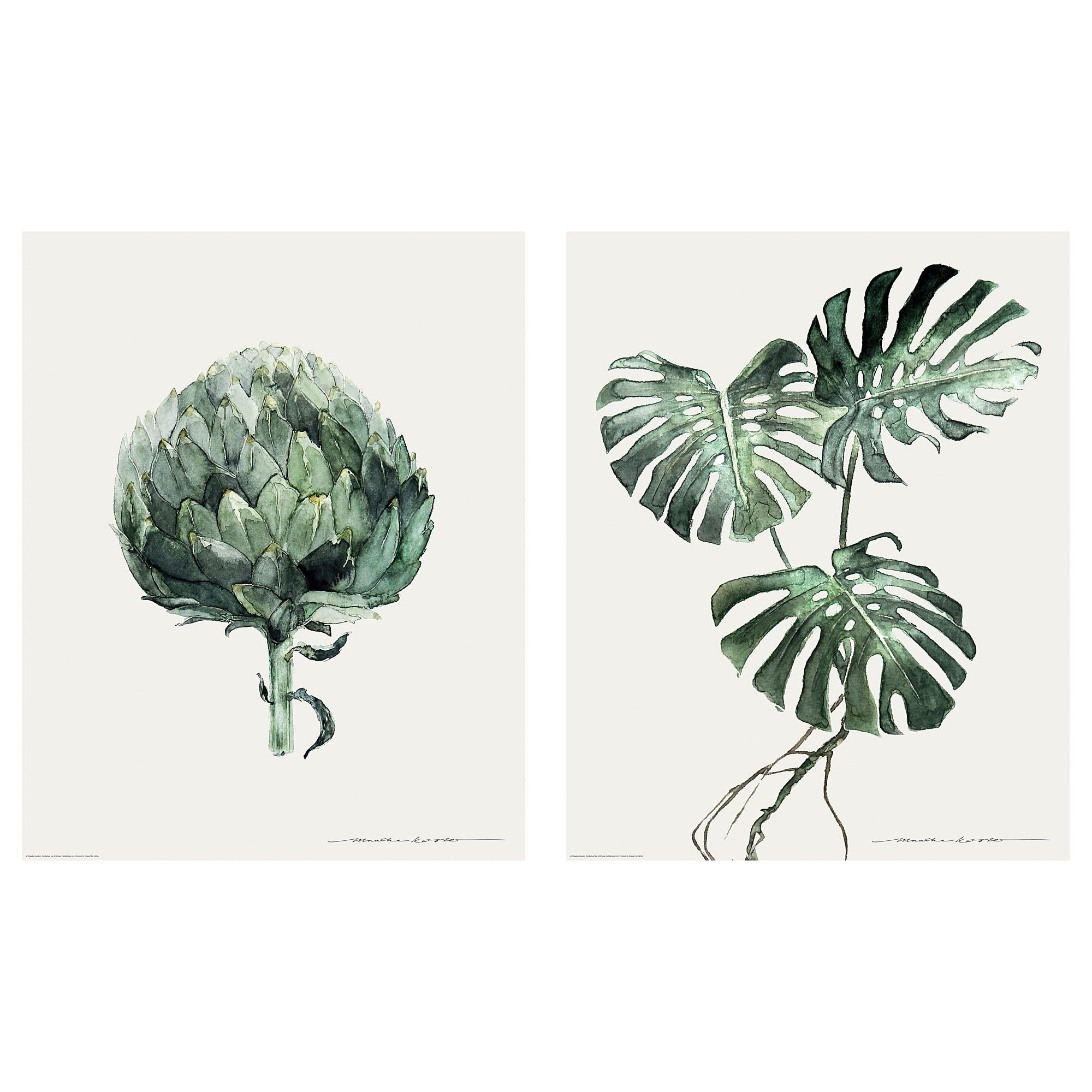 Ikea Poster Tvilling Poster Set Of 2 Green Leaves In 2019 Apartment Ikea
