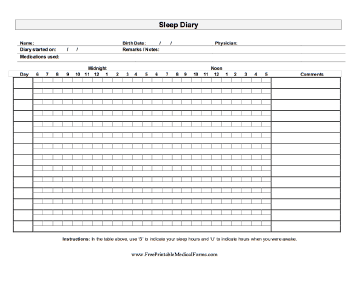 A printable sleep journal on which an adult can keep track ...