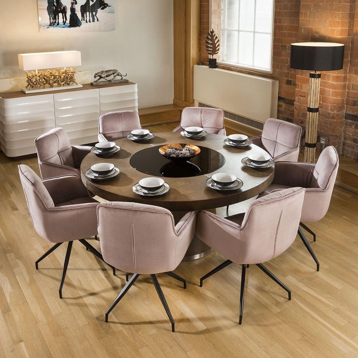Luxury Large Round Walnut Dining Table Lazy Susan 8 Z Chairs 3104 Blk Dining Room Seating Walnut Dining Table Swivel Dining Chairs