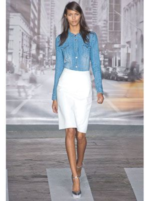 denim long-sleeve top is paired with a semi-fitted, crisp white pencil skirt and metallic heels. Sexy Spring Fashion From the Spring 2013 Runway - Cosmopolitan