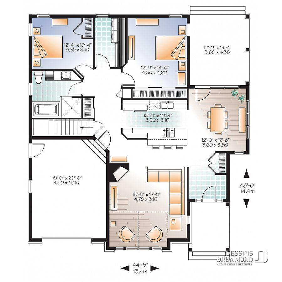 Decouvrez Le Plan 3235 V2 La Romaine 3 Qui Vous Plaira Pour Ses 2 Chambres Et Son Style Transitionnel Drummond House Plans Unique Floor Plans House Plans