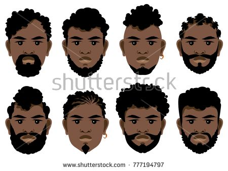 Set Of Black Men S Faces With Different Hairstyles Beards And