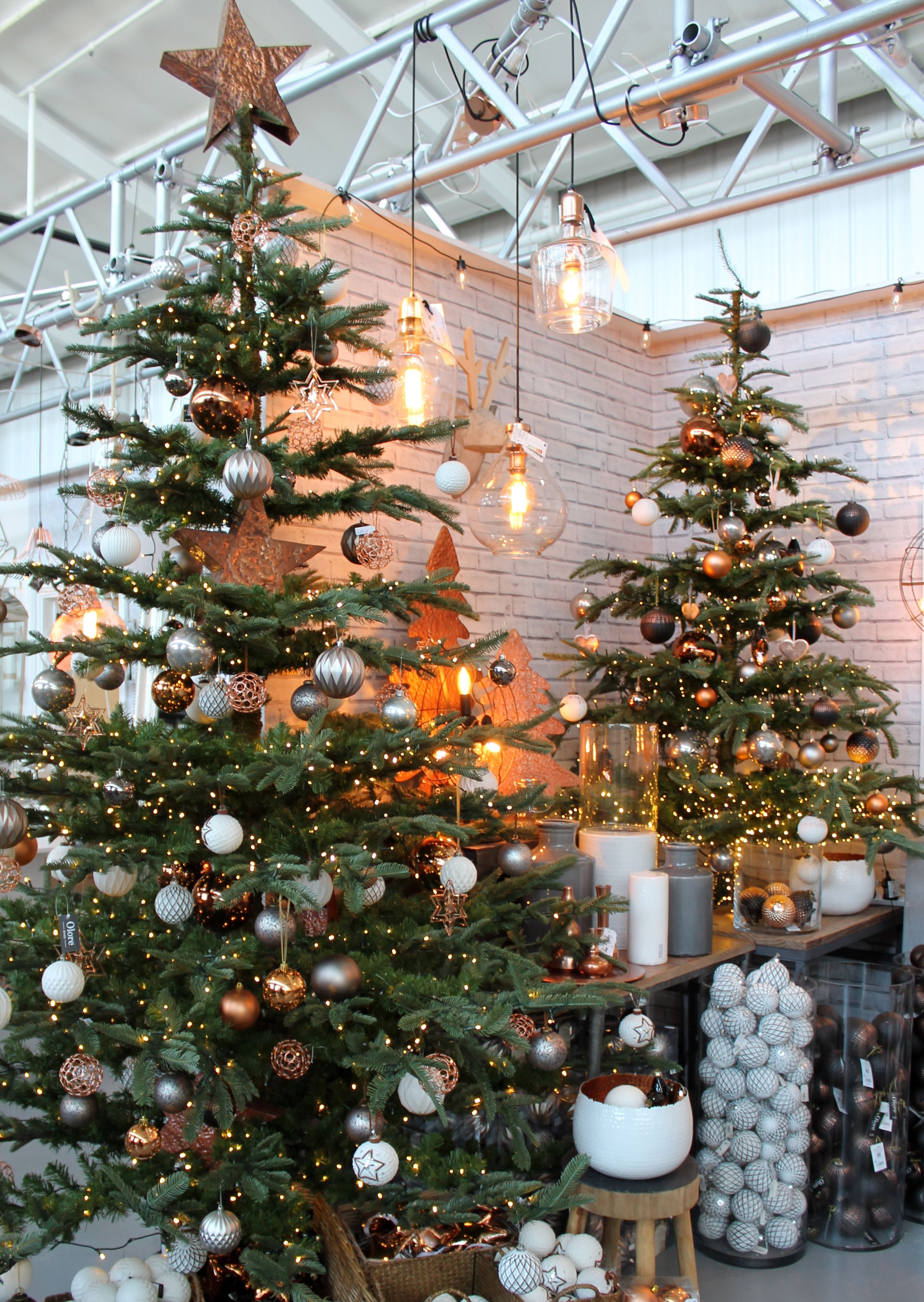 Grey Christmas Tree Urban Industrial Christmas Tree Design Copper Grey And White