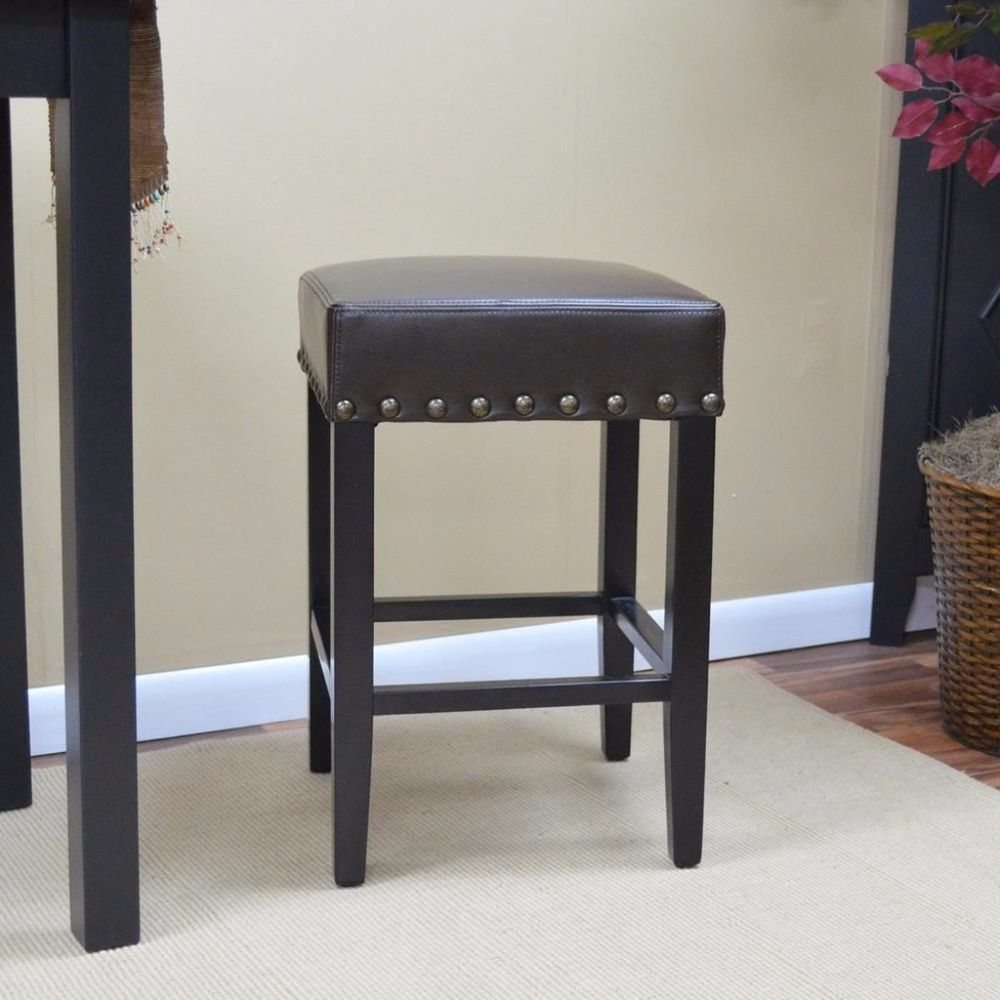 Antique Br Black Comfortable Upholstered Seat Cushioned Bar Stool 25 Inch