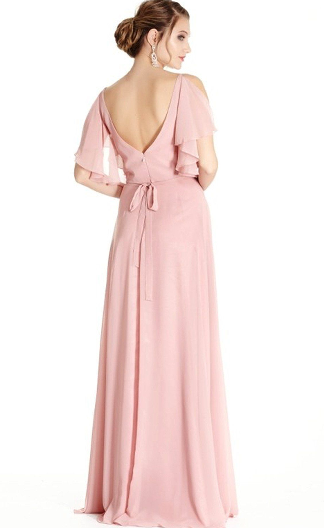Serendipity Blush Flutter Sleeve Bridesmaids Dress | Vestidos de ...