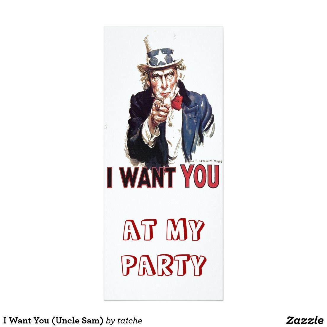 I Want You (Uncle Sam) 4x9.25 Paper Invitation Card
