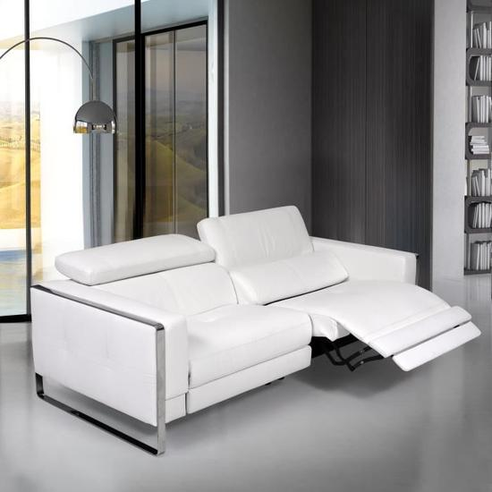 Unicadesign Canape Cuir 3 Places Avec 2 Places Relax Electriques Ischia Blanc Made In Italy L 210 X P 105 X H 73 Cm Canape Cuir Canape Cuir 3 Places Canape